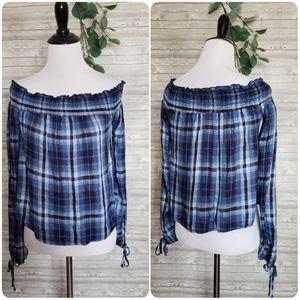 4 for $25 blue off shoulder plaid top
